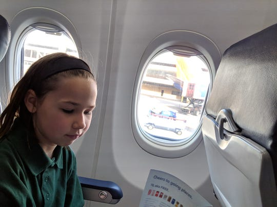 Erysse on a recent flight to Seattle. She helped plan this one.