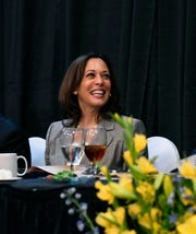 Democratic presidential candidate Kamala Harris smiles before giving a keynote address at a banquet for the NAACP,  Saturday, June 8, 2019 in West Columbia, S.C. (AP Photo/Meg Kinnard)