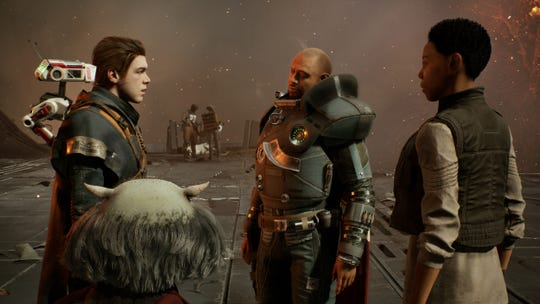 In 'Star Wars Jedi: Fallen Order,' the Jedi Padawan Cal Kestis, at left, is forced into action against the Empire. He joins forces with resistance leader Saw Gerrera (Forest Whitaker), second from the left.