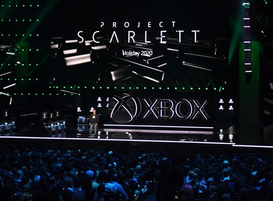 Microsoft Xbox head and executive vice-president of Gaming at Microsoft Phil Spencer announces the new Xbox Project Scarlett console at their press event ahead of the E3 gaming convention in Los Angeles on June 9, 2019.