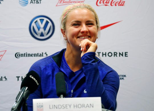 United States midfielder Lindsey Horan  during a news conference for the FIFA Women's World Cup France 2019.