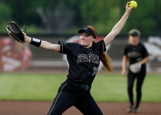 Oshkosh North's Sydney Supple (26) pitches against Sun Prairie during the Division 1 state championship game Saturday at Goodman Softball Complex in Madison.