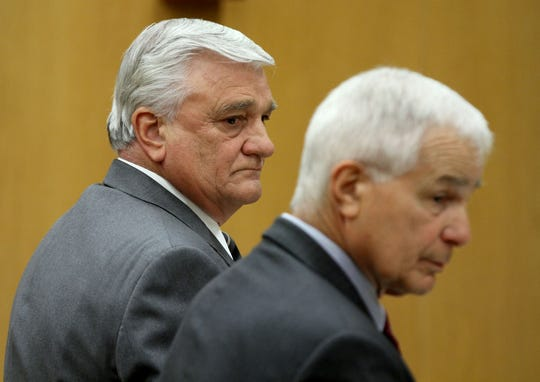Former Brick schools superintendent Walter Uszenski (left) is shown with his attorney Joseph Benedict in State Superior Court in Toms River Monday, June 10, 2019, as Judge Michael T. Collins resolves his case.