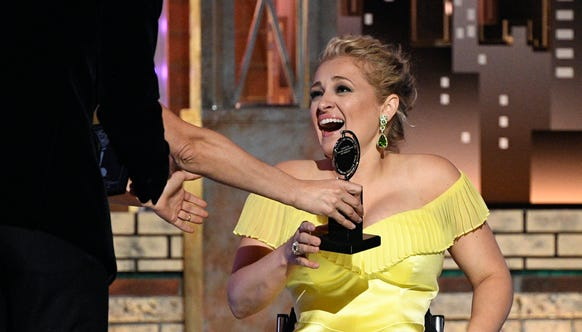 "Ridgewood native Ali Stroker wins the Tony award for ""featured actress in a musical"" at Radio City Music Hall on Sunday, June 9, 2019, in New York."