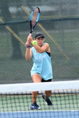 Abilene's Lauren Schaeffer her shot during the Consolation Round 3 Qualifier match at Madison Middle School. Schaeffer won the first set , but fell in three to Austin's Sydney Williams.