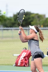 Abilene's Rachel Tebow keeps her eye on the ball during the Consolation Round 3 Qualifier at Madison Middle School on Monday. Tebow lost the match 6-3, 6-1 to Katherine Johnston of Houston.