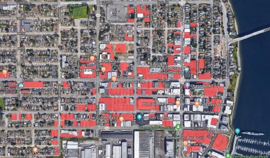 Parking lots in downtown Bremerton highlighted in red.