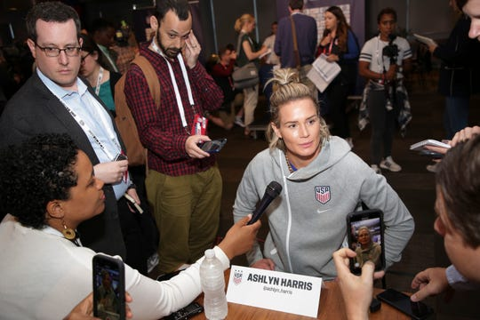 Ashlyn Harris, a member of the United States women's national soccer team, speaks to reporters during a media day in New York, Friday, May 24, 2019. (AP Photo/Seth Wenig)