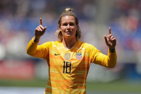 United States goalkeeper Ashlyn Harris is introduced during a send-off ceremony ahead of the FIFA Women's World Cup after an international friendly soccer match against Mexico, Sunday, May 26, 2019, in Harrison, N.J. The U.S. won 3-0. (AP Photo/Julio Cortez)