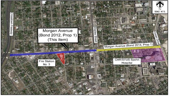 Map shows the 2012 Morgan Avenue bond project up for consideration Tuesday and a 2014 project still pending.