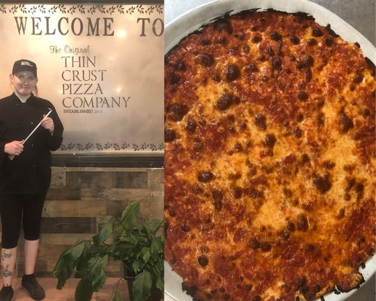 On the left, chef Rachael Pickett with Spongebob characters on full display. On the right, original thin crust pizza.