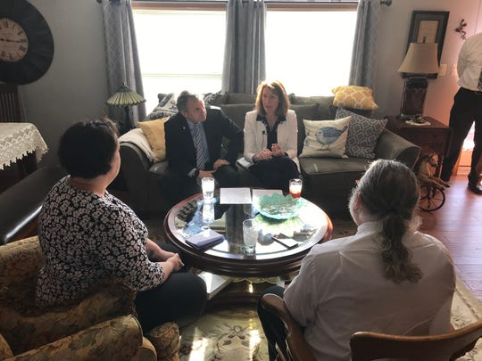 Sen. Sherrod Brown, D-Ohio, and Rep. Cindy Axne, D-Iowa, visited residents at Midwest Country Estates in Waukee on Monday. The two plan to investigate Havenpark Capital, the company that purchased the mobile home park in March with plans to raise the rent by 69%.