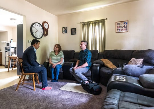 Presidential candidate Andrew Yang spent an hour chatting with Pam Christensen and her son Kyle after first telling them Kyle will receive $12,000 from Yang over the next year.
