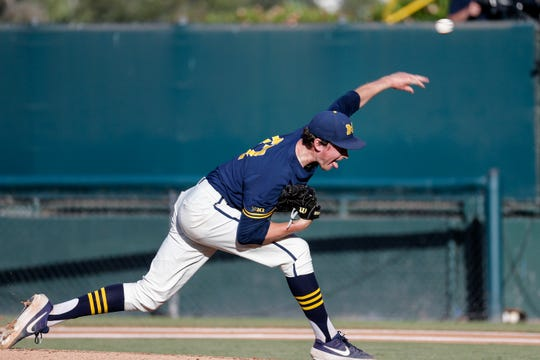 Michigan's Tommy Henry (47) throws to a UCLA batter during the first inning of an NCAA college baseball tournament super regional game in Los Angeles, Sunday, June 9, 2019.