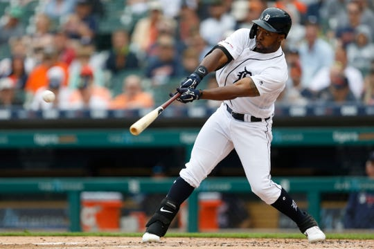 Detroit Tigers left fielder Christin Stewart singles  against the Minnesota Twins during the first inning at Comerica Park. on June 9, 2019.
