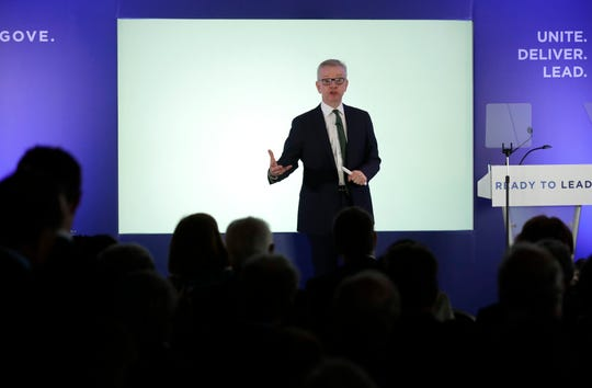 Britain's Environment Secretary Michael Gove launches his leadership campaign for the Conservative Party in London, Monday June 10, 2019.