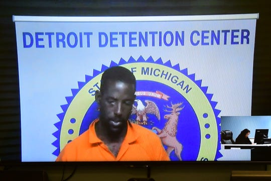 Video arraignment of Deangelo Kenneth Martin on Monday, June 10, 2019 in 36th District Court in Detroit. Martin is suspected in the serial killing of three prostitutes  on the east side of Detroit.