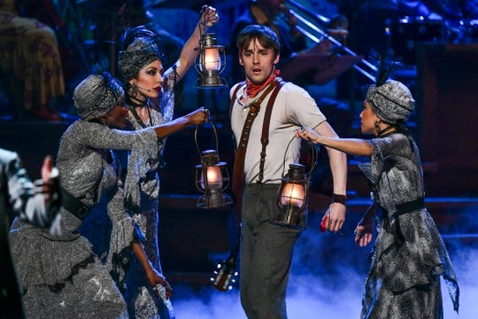 "Reeve Carney, of the cast of ""Hadestown"" performs at the 73rd annual Tony Awards at Radio City Music Hall on Sunday."