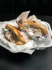 Two doner kebab sandwiches from Balkan House in Hamtramck.