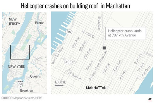 The crash near Times Square and Trump Tower shook the 750-foot AXA Equitable building, sparked a fire and forced office workers to flee on elevators and down stairs, witnesses and officials said.