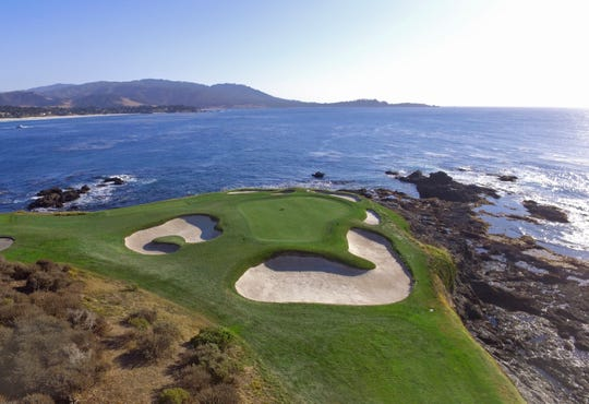 An aerial view of the famous seventh hole at Pebble Beach Golf Links.