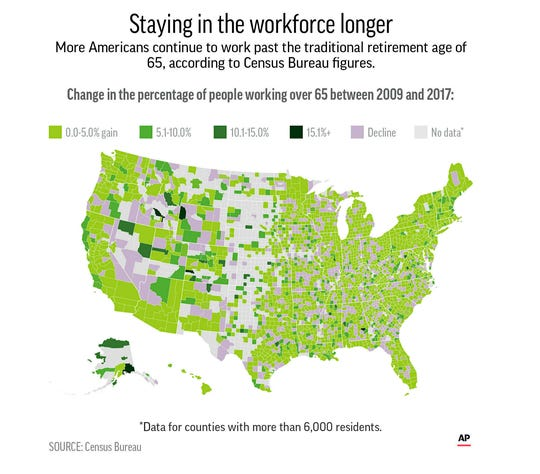 County-level data of the percentage change in workers age 65 and older in the workforce between 2009 and 2017.