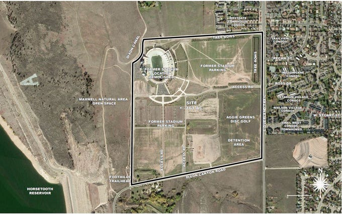 This view shows the land proposed for development at the former Hughes Stadium site