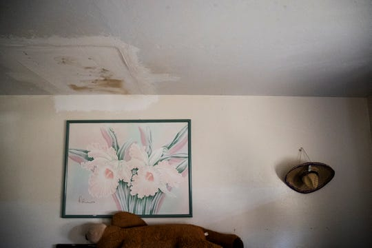 Water damage can be seen in Margarita Colegio's apartment. The complex is undergoing a transition with some families living under a Section 8 voucher program. The owner of the building has decided to cancel his rent contract by providing rent subsidies through HUD. The local housing authority has given 36 families Section 8 vouchers to move, and a deadline to use the vouchers  or lose them.