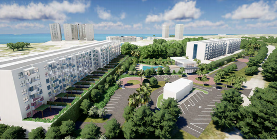 A rendering shows a concept plan for what the Seaboard development planned at Seaboard and Michigan in Fort Myers.