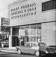 The growth of Savings and Loan associations can be traced from single rooms in sponsoring banks through small offices like this First Federal location on West McBee Avenue in the 1950s to their final homes in multi-story buildings.