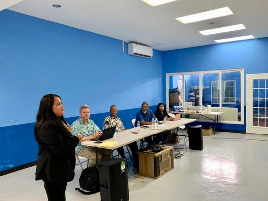 Speaker Tina Muna Barnes addresses a June 8, 2019 town hall meeting hosted by the Joint Committee on Compact Review and Planning of the Federated States of Micronesia.