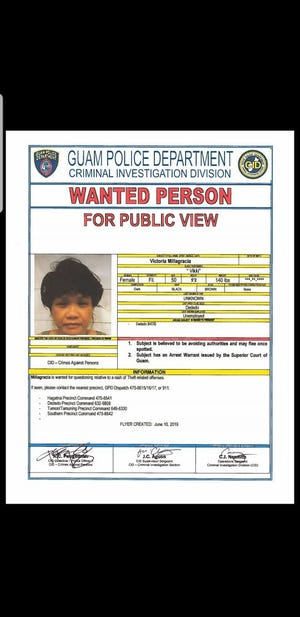 A wanted poster for Victoria Millagracia