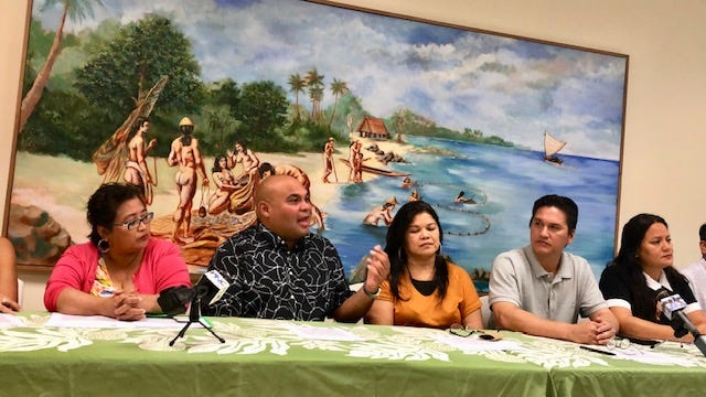 Lt. Gov. Josh Tenorio, second from left, talks about Guam's participation in the 13th Festival of Pacific Arts and Culture in Hawaii in June 2020, while other members of the Guam delegation for the 13th FestPac Planning Task Force look on, during a June 10, 2019 news briefing at the Guam Museum.
