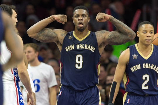 Dec 20, 2016;  New Orleans Pelicans forward Terrence Jones (9) reacts to his score against the Philadelphia 76ers.
