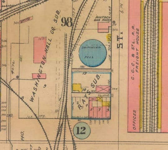 The Sanborn Fire Insurance Map from 1916 shows the location of the swimming pool on Delaware Street, just north of South Street.