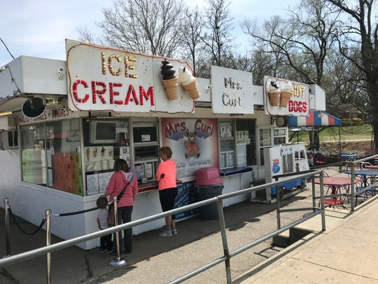 Guests place their orders at Mrs. Curl Ice Cream and Outdoor Cafe on April 16, 2019.