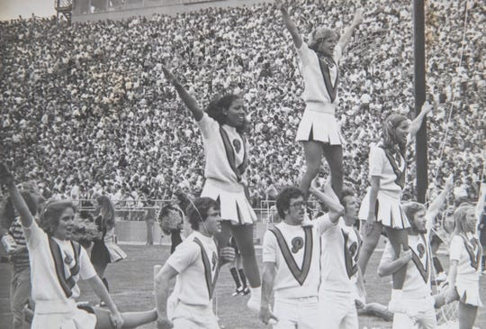 Kathy Jordan (third from left), one of Purdue's first three African American cheerleaders, with her squad in the mid 70s, Indianapolis, Friday, June 7, 2019.
