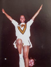 Kathy Jordan, one of Purdue's first three African American cheerleaders, with a teammate in the mid 70s, Indianapolis, Friday, June 7, 2019.