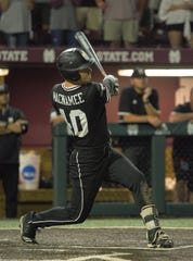 Mississippi State's Elijah MacNamee hit a three-run home run in the top of the ninth inning against  Stanford in Game 2 of the Super Regionals in Starkville on Sunday.