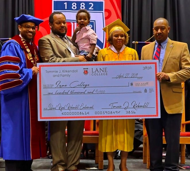 Lane College alumna Tommie Kirkendoll made a $100,000 endowment gift to the school at its annual spring commencement in April.