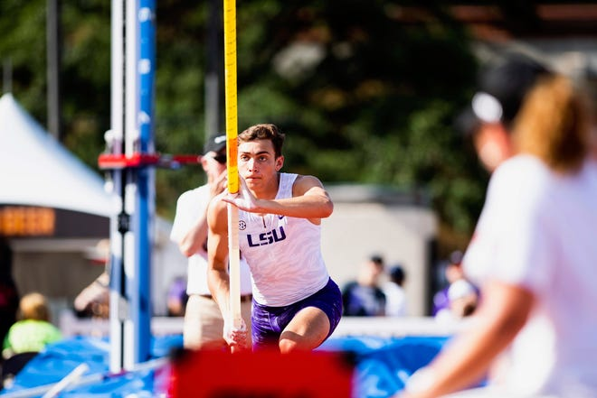 """Armand """"Mondo"""" Duplantis participates in the NCAA Track and Field Championships in Austin, Texas."""