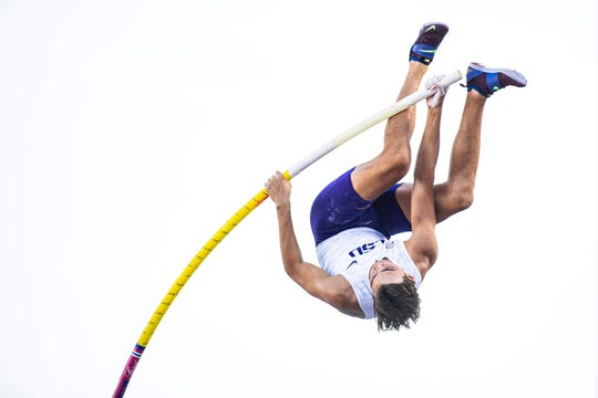 "Armand ""Mondo"" Duplantis participates in the NCAA Track and Field Championships in Austin, Texas."