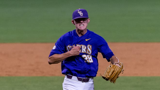 Devin Fontenot on the mound as The LSU Tigers take on the Florida State Seminoles for game 2 of the 2019 NCAA Baton Rouge Super Regional. Sunday, June 9, 2019.