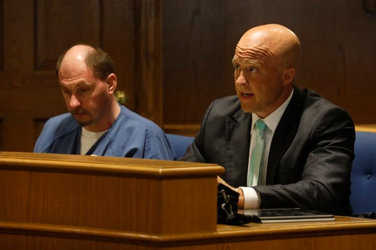 Aaron Conrad, right, speaks during a hearing on a motion to suppress evidence in his client Michael D. Thimmes Jr.'s case, June 10, 2019, in Fairfield County Common Pleas Court in Lancaster. Thimmes accused of sexual misconduct with an 11-year-old child. He's charged with two counts of rape, both first degree felonies, and four counts of gross sexual imposition, all third degree felonies.