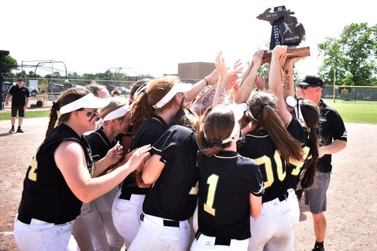 Howell celebrates a regional softball championship on Saturday, June 8, 2019.