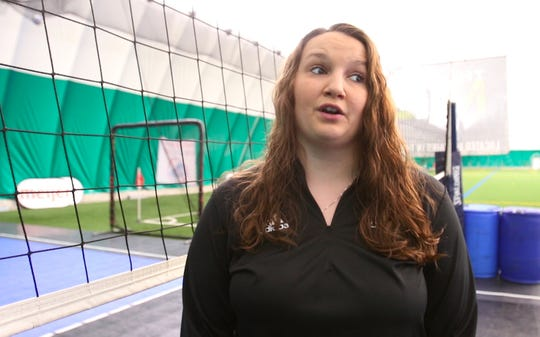 Kristen Althouse, director of volleyball at the Legacy Center Sports Complex in Green Oak Township, talks Monday, June 10, 2019 about a proposal to build a new structure to house numerous volleyball and basketball courts.