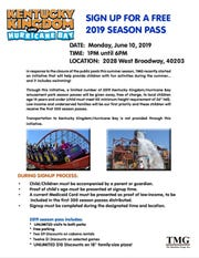 A flyer advertises the free Kentucky Kingdom season pass sign-up event.