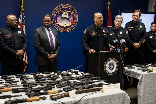 Memphis Police Director Michael Rallings speaks during a press conference about two recent operations by MPD's Organized Crime Unit, June 10, 2019.