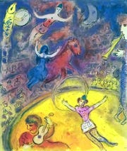 "This is an image from ""Chagall's Le Cirque,"" a collection of circus-themed lithographs opening at Jewish Museum Milwaukee June 14."
