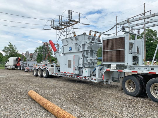 This mobile substation arrived in Mountain Home on Friday afternoon and helped to restore power to more than 1,100 North Arkansas Electrical Cooperative accounts early Saturday.